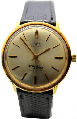 BWC swiss trans-europ Automatic 25 swiss made vintage Herrenuhr gold Lederband schwarz