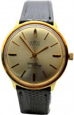 BWC swiss trans-europ Automatic 25 swiss made vintage Herrenuhr gold Lederband schwarz