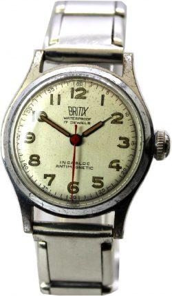 Britix 30mm mechanische Herrenuhr 17 Jewels Sekundenzeiger rot Zugband silber