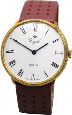Buler Royal swiss made Herrenuhr Quarz Uhr Zifferblatt weiß römische Zahlen