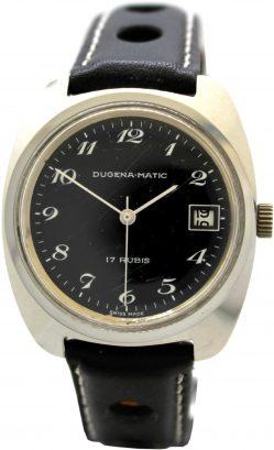 Dugena Matic swiss made 17 Rubis Datum Zifferblatt schwarz Handaufzug Rallye Lederband Uhrenarmband