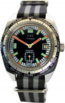 E.B.F. mechanische Weltzeit Herrenuhr 17 Rubis kleine Sekunde Datum mit Nylon Uhrenarmband Durchzugsband schwarz grau