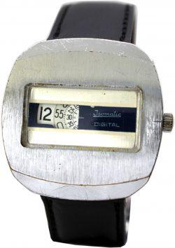 Isomatic Digitale Scheibenuhr Herrenuhr Lederband