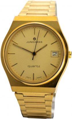 Junghans swiss made Datum Quartz Herrenuhr gold