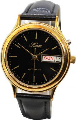 Karex Automatic day date mechanische Herrenuhr schwarz gold