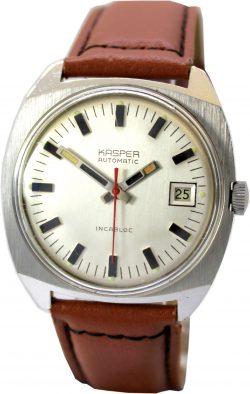Kasper Automatic Herrenuhr Datum mechanische vintage Uhr seltene Gehäuseform 35,5mm x 34,5mm