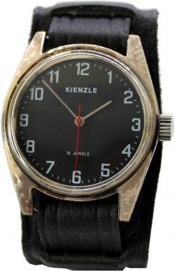 Kienzle Herrenuhr Handaufzug 19 Jewels Unterlagenband und Zifferblatt schwarz