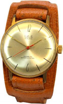 L-K-E Herren Armbanduhr mechanische vintage Uhr 17 Rubis Unterlagenband braun