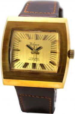 Mitava vintage Uhr mechanische Herrenuhr 17 Rubis Handaufzug Lederband braun