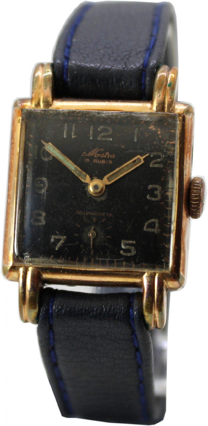 Nostra Herrenuhr Handaufzug 15 Rubis 20 Mikron vergoldet Lederband dunkelblau