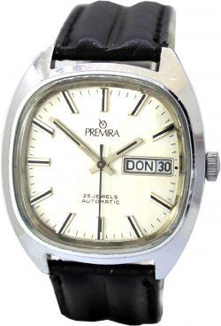 Premira Automatic Armbanduhr 25 Jewels PUW 1563 Tag und Datum Anzeige vintage Uhr