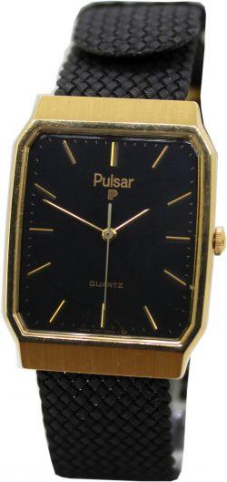 Pulsar Quartz Uhr Quarz schwarz gold mit Textilband