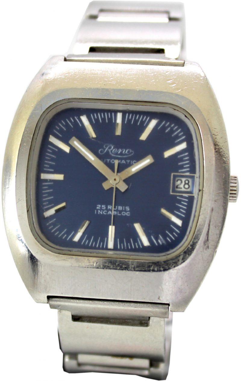 Reno Automatic vintage Herrenuhr 25 Rubis Datum Zifferblatt blau Metall Uhrenband