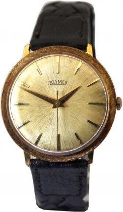 Roamer Handaufzug Uhr swiss made vintage Herrenuhr gold besonderes Zifferblatt mit Schliff