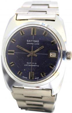 Saytoko Grand Luxe super 21 swiss made 6180 Herrenuhr mit Datum Zifferblatt blau