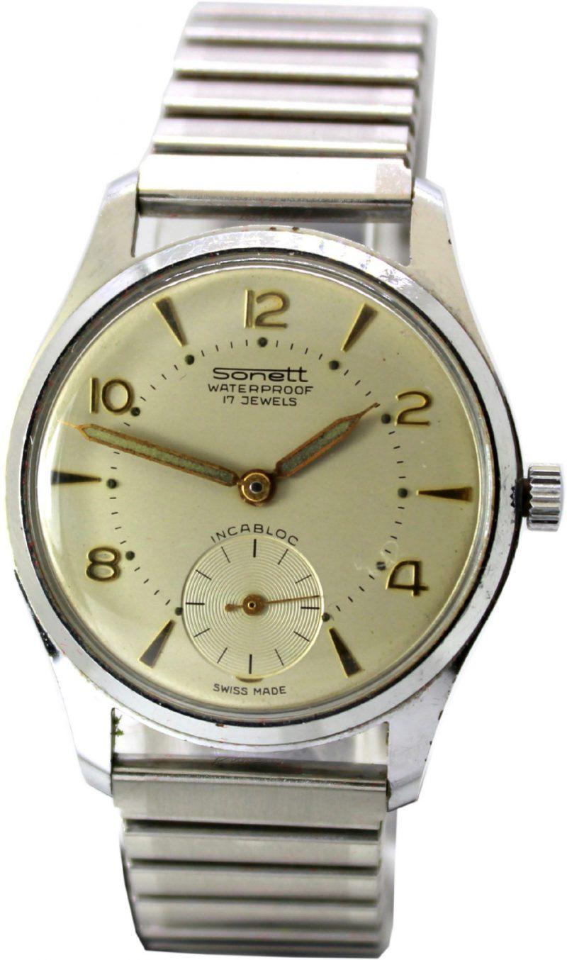Sonett Uhr swiss made 17 Jewels mechanische Herrenuhr kleine sekunde fixo flex Metallband