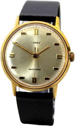 Timex Herrenuhr Handaufzug vintage Armbanduhr 20242468 gold 33mm Lederband schwarz