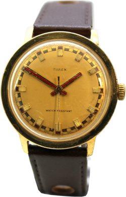 Timex Handaufzugsuhr Herrenuhr mechanisch rotr Zeiger Zifferblatt gold Uhrband braun vintage 260602473