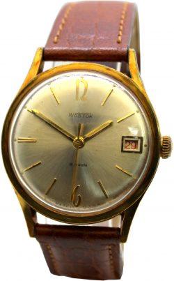 Wostok Handaufzug 18 Jewels Made in USSR gold mit Datum rot Lederband braun Herrenuhr