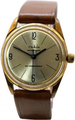 Ruhla Herrenuhr Handaufzug Made in Germany Armbanduhr gold Uhrband braun