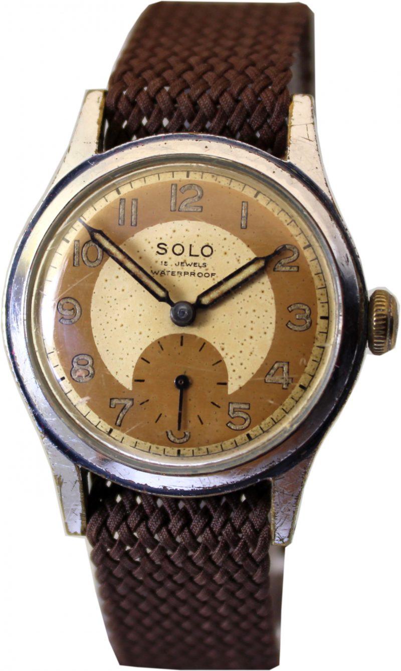 Solo mechanische Herrenuhr 15 Jewels kleine Sekunde 32,5mm gold Textilband braun