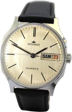 Amara Herrenuhr day date Tag und Datum Quartz vintage Quarz Uhr Lederband schwarz