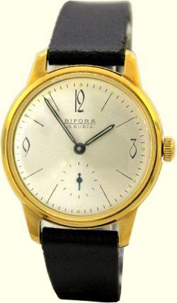 Bifora vintage Herrenuhr 15 Jewels 20 micron vergoldet kleine Sekunde Lederband schwarz