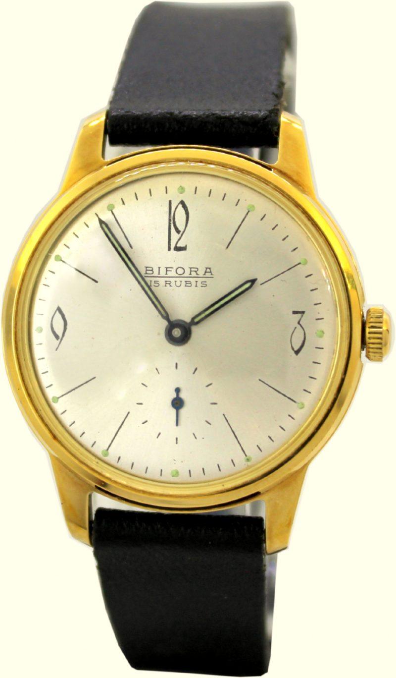 Bifora vintage Handaufzug Herrenuhr 15 Jewels 20 micron vergoldet kleine Sekunde Lederband schwarz
