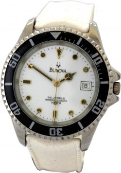 Bulova mechanische Herrenuhr 25 Jewels swiss made 10 ATM Datum vintage tropic Uhrband weiß