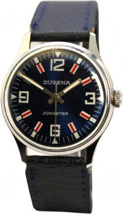 Dugena Jongster unisex Handaufzug Armbanduhr 30mm Ziffernblatt und Lederband dunkel blau Indexe rot und weiß
