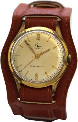 Ehr vintage Herrenuhr 17 Steine Handaufzug Uhr Unterlagenband braun