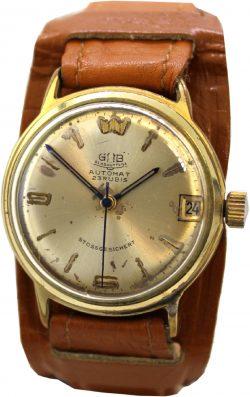 Glashütte GUB Automat 23 Rubis Armbanduhr Herrenuhr mechanisch mit Datum Unterlagenband braun