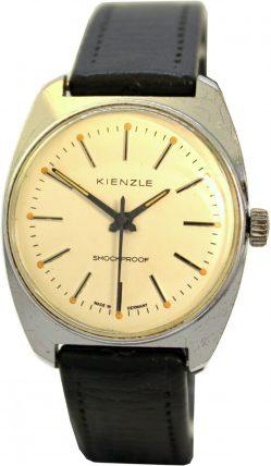 Kienzle Herrenuhr vintage Made in Germany mit original Uhrenarmband schwarz Ziffernblatt weiß