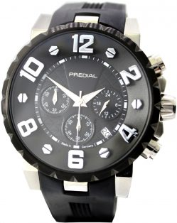 Predial Chronograph Armbanduhr Made in Germany Datum 24h Stunden Uhr schwarz