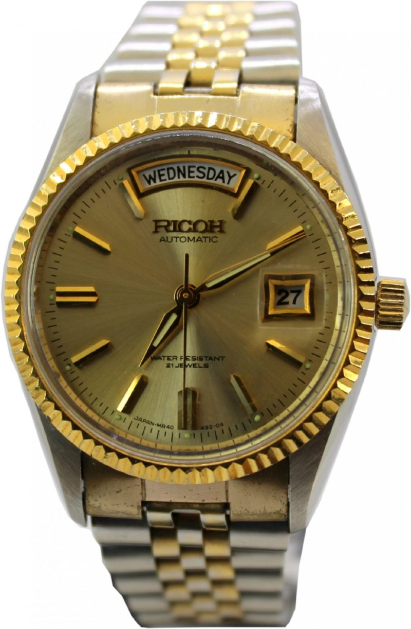 Ricoh Automatic 21 Jewels Tag und Datum mit Datumslupe bicolor mechanische unisex Armbanduhr 040121