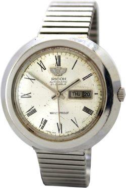 Ricoh Automatic 21 Jewels Armbanduhr Tag und Datumsanzeige day date silber Flexband