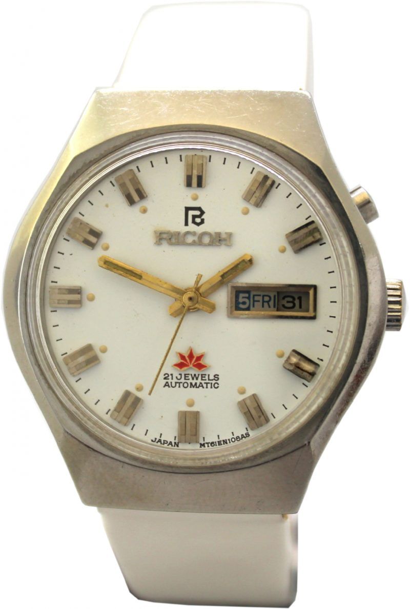 Ricoh mechanische Armbanduhr 21 Jewels day date Automatic Uhr Indexe gold Ziffernblatt Lederband weiß