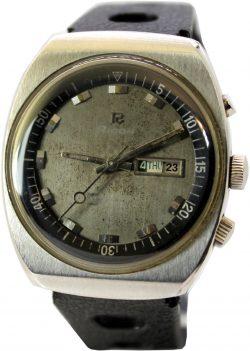 Ricoh Ocean Diver Automatic Uhr Herrenarmbanduhr flach Tag und Datumsanzeige silber schwarz mit Rallye Armband