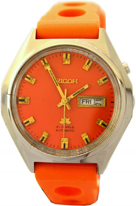 Ricoh automatic vintage Armbanduhr Day date 21 Steine Herrenuhr Ziffernblatt und Uhrenarmband orange