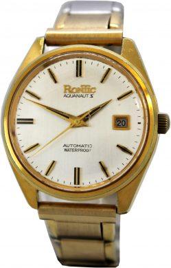 Rontic Aquanaut Automatic vintage Armbanduhr 21 Jewels Herrenuhr Datum Flex Uhrband gold 14333D