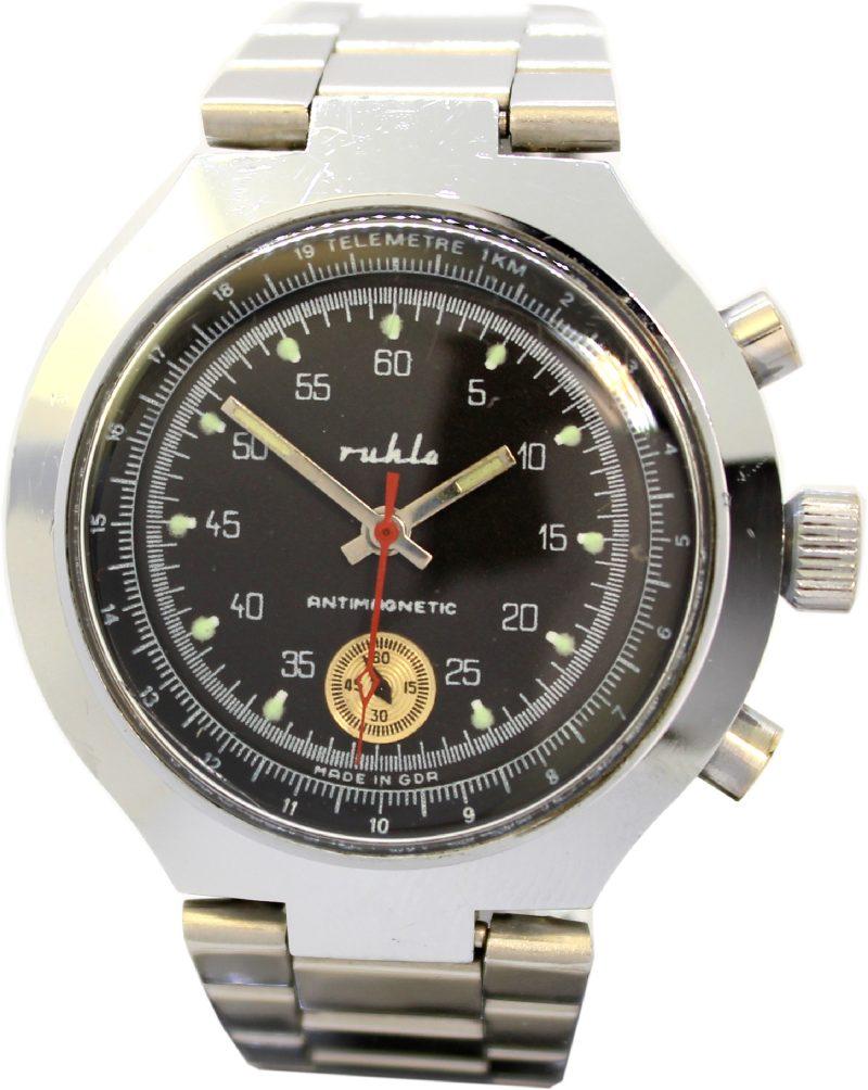 Ruhla Chronograph Made in GDR Mechanische Herrenuhr Ziffernblatt schwarz Metall silber 40mm