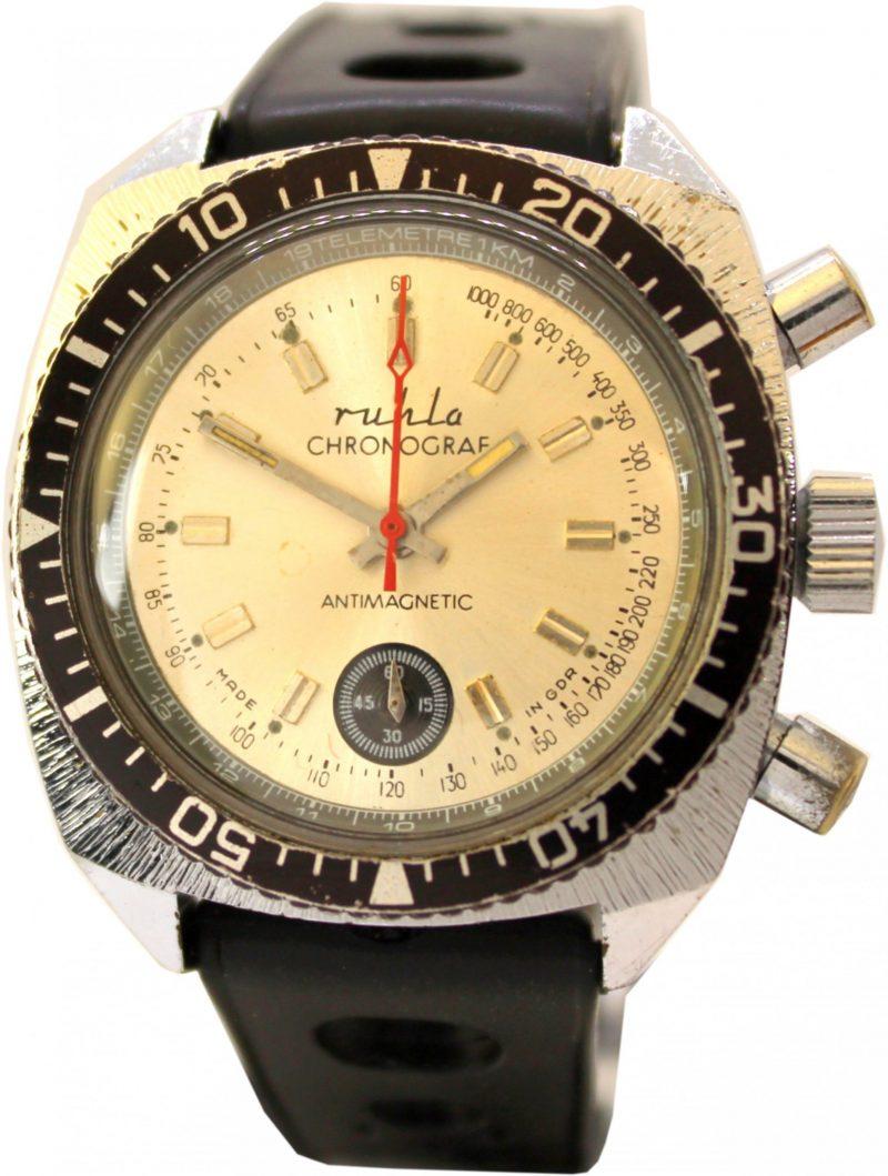 Ruhla Chronograf mit Drehlünette und Telemetre km Anzeige Made in GDR Herren sport Taucher Uhr vintage Uhrband schwarz