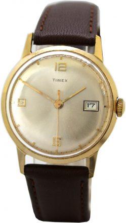 Timex Herren Uhr Armbanduhr Handaufzug mit Datum vintage gold Lederband braun