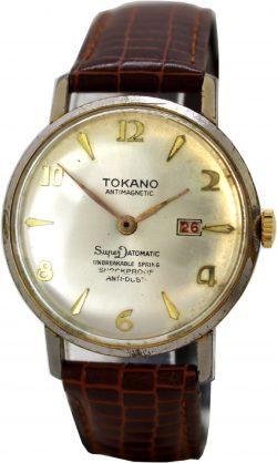 Tokano Super Datomatic mechanische vintage Herren Armbanduhr Uhr mit Datum Lederband braun