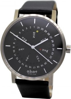 a.b.art ArmbanduhrTag und Datum swiss made Saphirglas Edelstahl Uhr silber schwarz Lederband