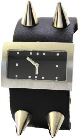 a.b.art Quarz Uhr unisex Armbanduhr schwarz silber mit Nieten rechteckig 37mm 23,5mm besonderes Design