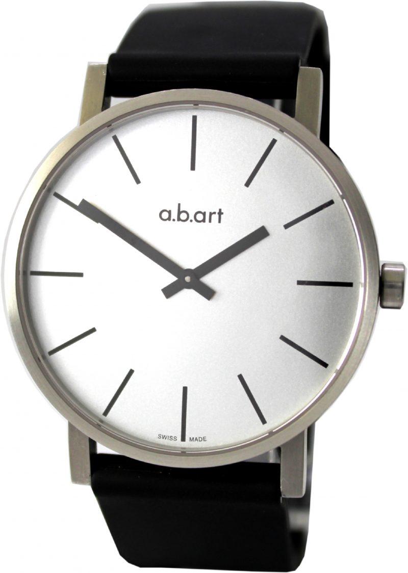 a.b.art O 105 swiss made Herren Quarz Edelstahl Uhr mit Saphirglas und Silikon Uhrband 40,5mm Ziffernblatt silber 3ATM