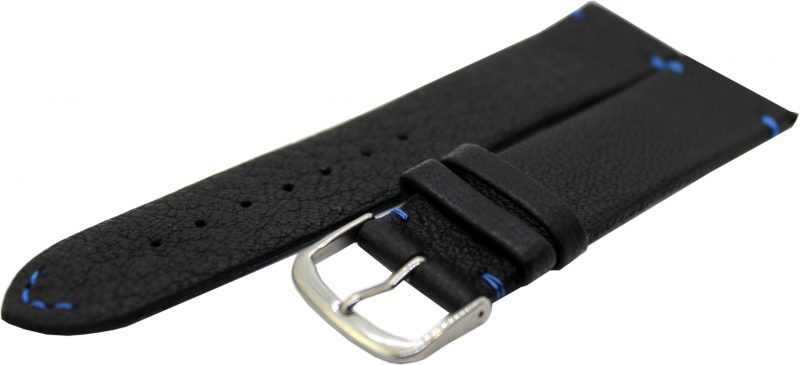 HEKTOR Herren Uhrenarmband aus Elch - Leder schwarz Naht und Futterleder blau 22mm