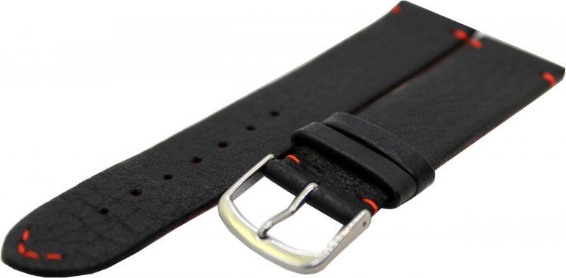 HEKTOR Herren Uhrenarmband aus Elch - Leder schwarz Naht und Futterleder rot 22mm