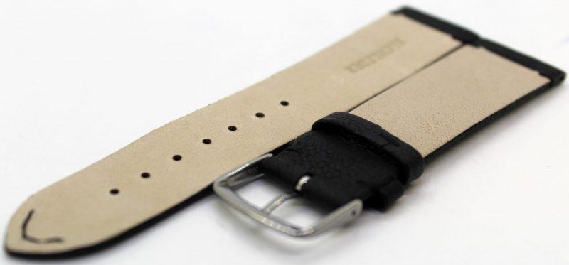 HEKTOR Herren Uhrenarmband aus Elch - Leder und Naht schwarz Futterleder beige 22mm